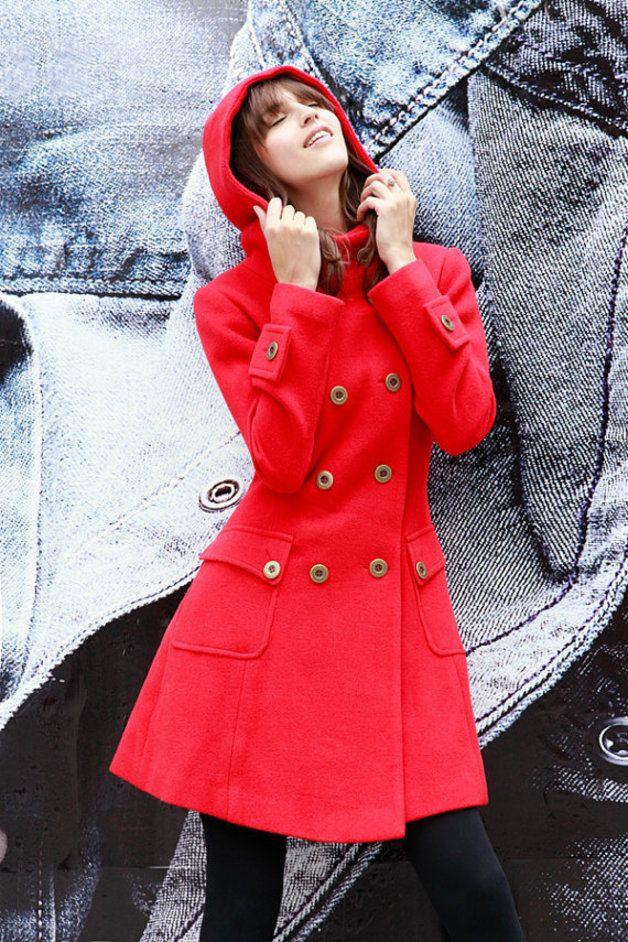 Abrigos largos - Red Cruzado con capucha de lana Escudo NC423 - hecho a mano por Rosalinddress en DaWanda
