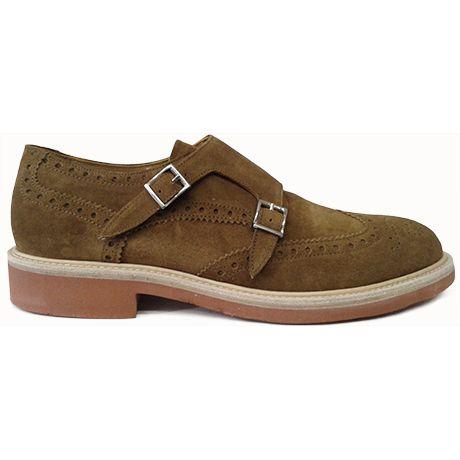 Zapato de doble hebilla en ante color cuero de Pertini vista lateral