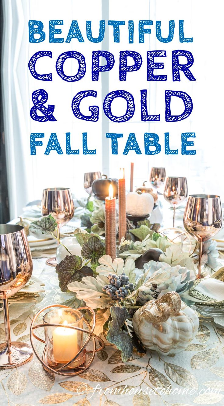 Beautiful Gold And Copper Fall Table Setting. Vine LeavesSeasonal DecorFall  ...