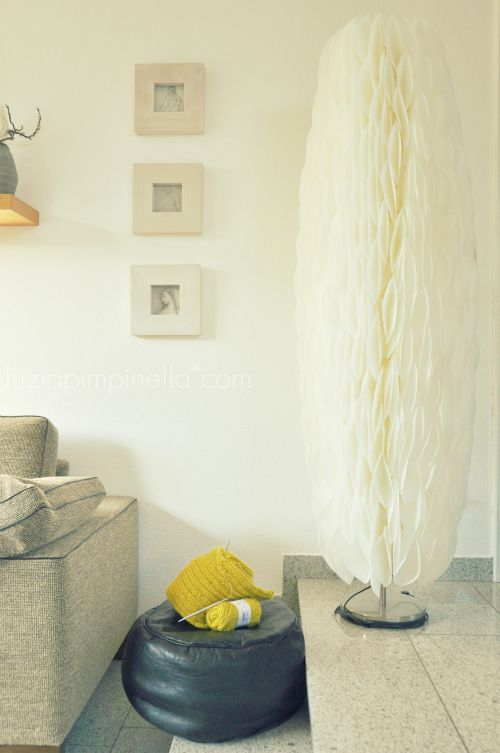 Ikea hack old and battered paper floor lamp re dressed with hundreds of coffee filter papers - Paper floor lamp ikea ...