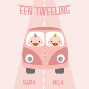 Geboortekaartje tweeling meisjes in VW bus