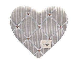 Lavagnetta memo in stoffa a forma di cuore beige - 43x40x3 cm