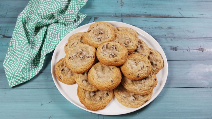 Great recipe. Add 1/2 c flour and 1 tblsp corn starch, extra mini chocolate chips bake between 8-9 min Fat & Chewy Chocolate Chip Cookies - Delish.com
