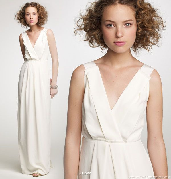 Elegant, classy bride - surplice v-neck sleeveles wedding dress from J.Crew fall 2010 bridal collection