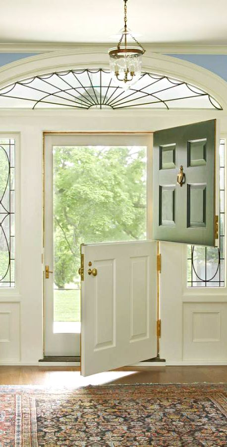 Front Door… Dutch door and bell jar lantern.