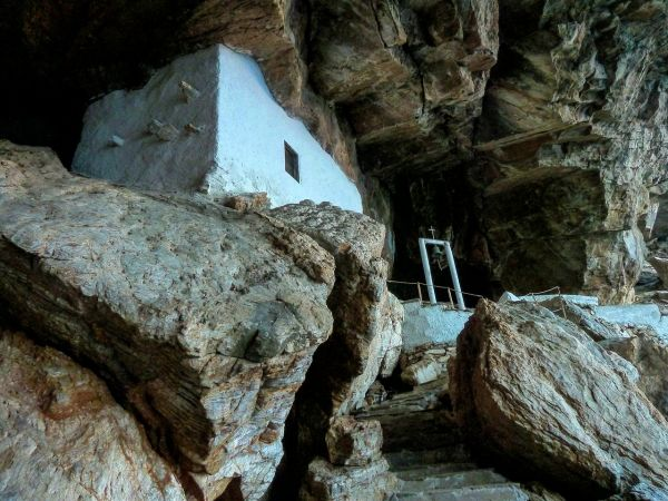 Chapel in a cave, Agios Stefanos in Syros island
