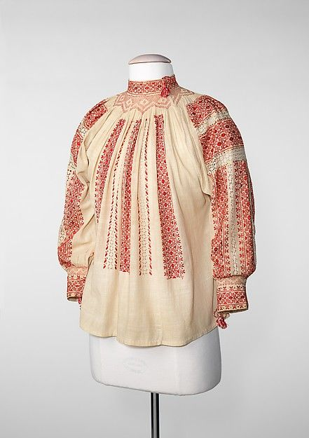 Blouse | Romanian | fourth quarter 19th century | cotton, silk, metal |  Brooklyn Museum Costume Collection at The Metropolitan Museum of Art | Accession Number: 2009.300.2275