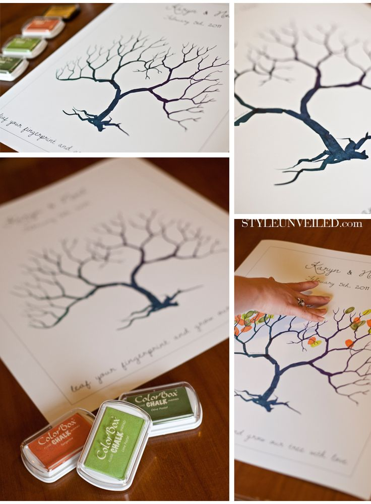 Free template for the Fingerprint Tree: Wedding, Fingerprint Tree, Guestbook, Free Printable, Guest Book