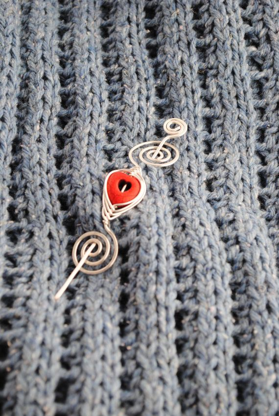 Valentine's Day Hair Pin Shawl Pin Scarf Pin with heart by MichellesAssortment, $15.00