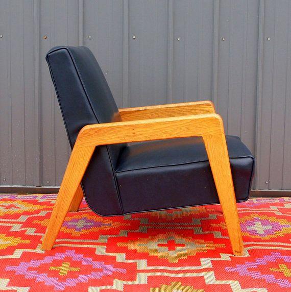 VINTAGE MCM BEAUTY - Navy Blue Leather Danish Modern Lounge Chair - Scandinavian Design Furniture