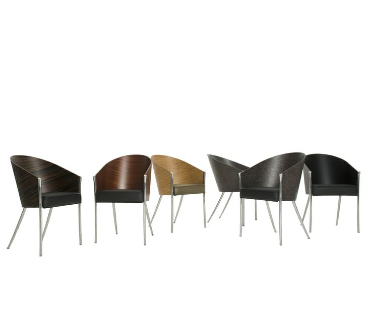 King Costes by Philippe Starck Easy chair. Polished aluminum structure and curved plywood mahogany, ebonized mahogany, grey oak, striped wenge, bamboo or grey erable maple finished shell. Polyurethane foams padded seat with black or beige leather fixed cover.