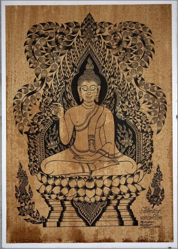Thai traditional art of Buddha by silkscreen printing on sepia paper