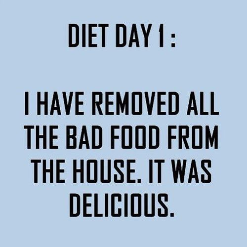 Food Humor #36: Diet Day 1. I have removed all the bad food from the house. It was delicious.