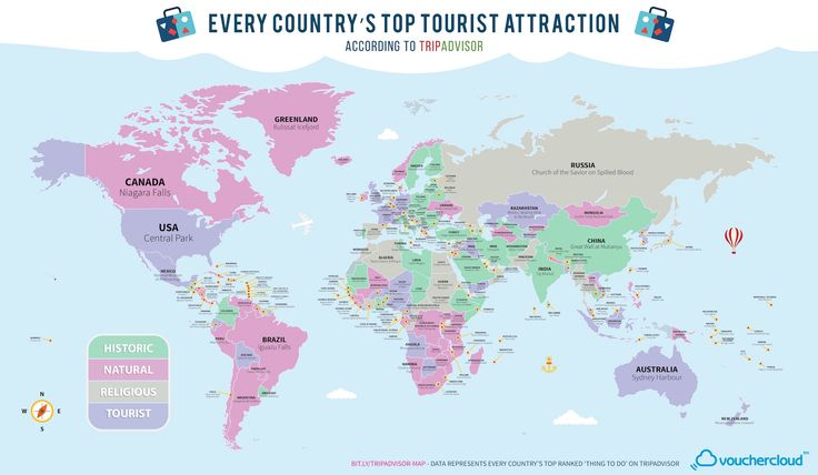 This map has the most popular tourist attraction of every country - Matador Network