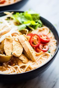 Chicken PHO made with creamy spicy broth! /cottercrunch/