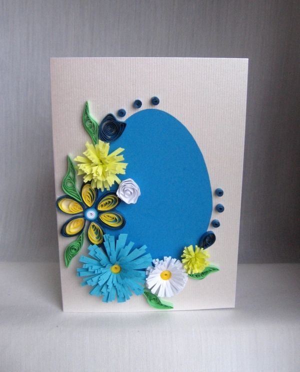 easter holiday decoration crafts ideas quilled easter cards blue egg flowers