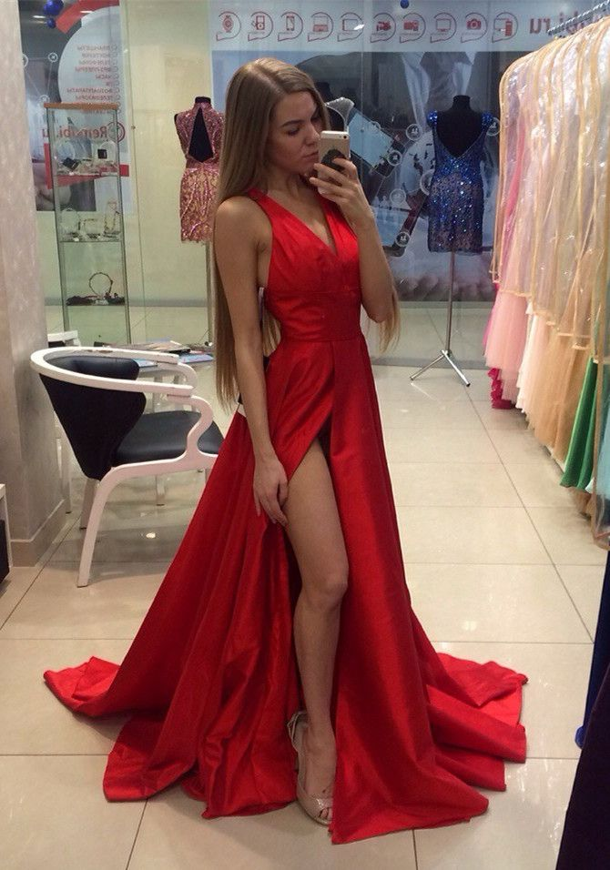 Sexy Red V-neck Long Prom Dress 2016 Sleeveless Front Split_High Quality Wedding Dresses, Quinceanera Dresses, Short Homecoming Dresses, Mother Of The Bride Dresses - Buy Cheap - China Wholesale - 27DRESS.COM