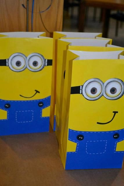 Fun favor bags at a Despicable Me party! See more party ideas at CatchMyParty!