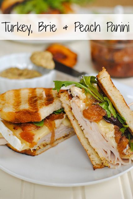 Turkey, Brie & Peach Panini - a sweet, savory & cheesy way to eat leftover turkey!
