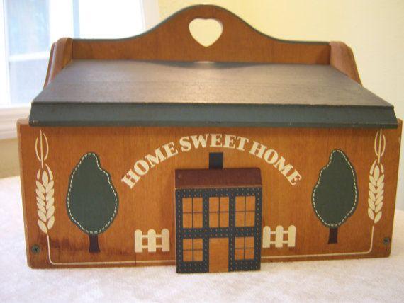 Vintage wood bread box/'Home Sweet Home'/Blue,white,brown bread box/Storage box/Country decor/Rustic decor