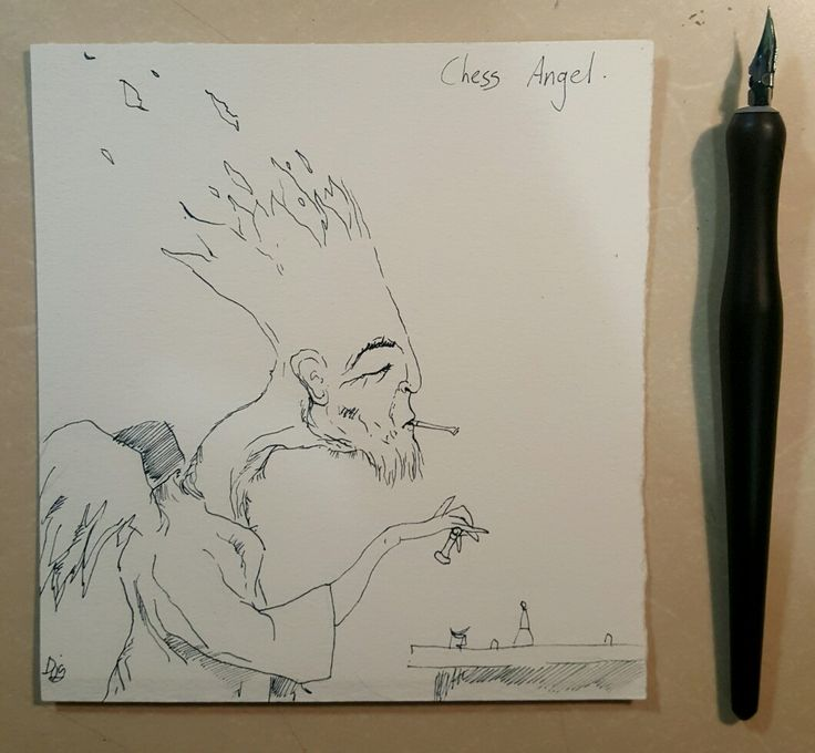 Chess Angel  Ink drawing