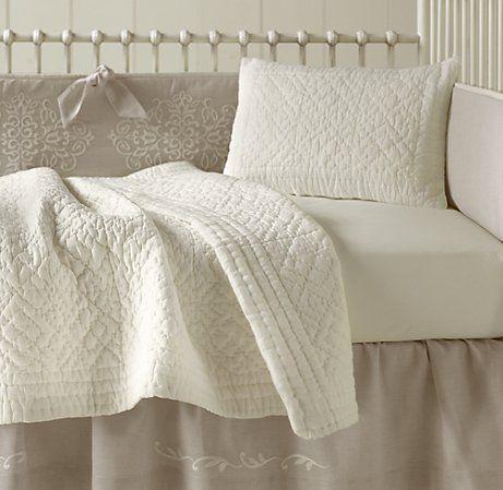Embroidered crib bedding: Restoration Hardware Baby & Child