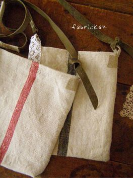 Cute sewn bags from vintage linens  |   fabrickaz+idees