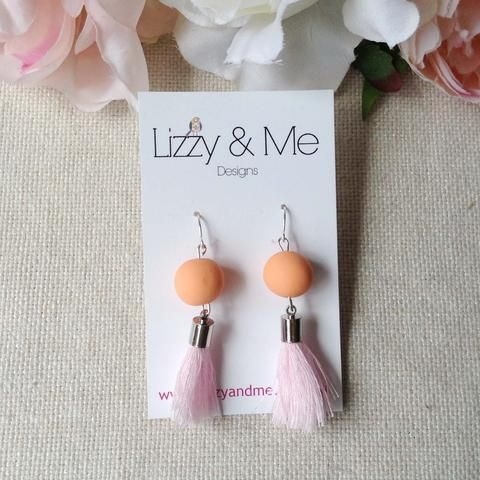 """""""Tullulah"""" - Tassel Earrings - Peach with Baby Pink Tassels"""