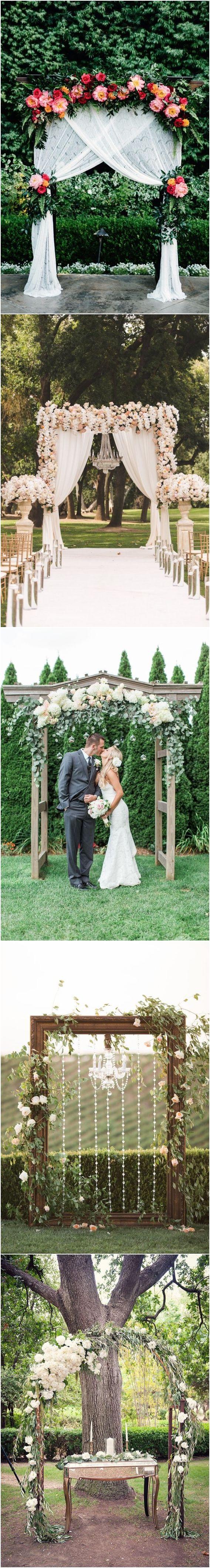 Floral wedding ceremony arch ideas #weddingarch #weddingdecor #weddingbackdrops #flroal #wedding ❤️ http://www.deerpearlflowers.com/floral-wedding-arch-canopy-ideas/