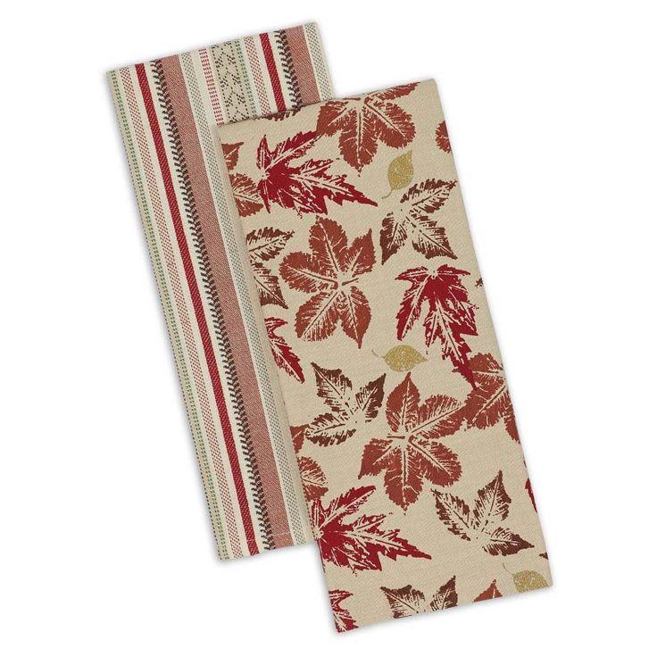 Design Imports Rustic Leaves Dishtowel - Set of 4 - COSD37502