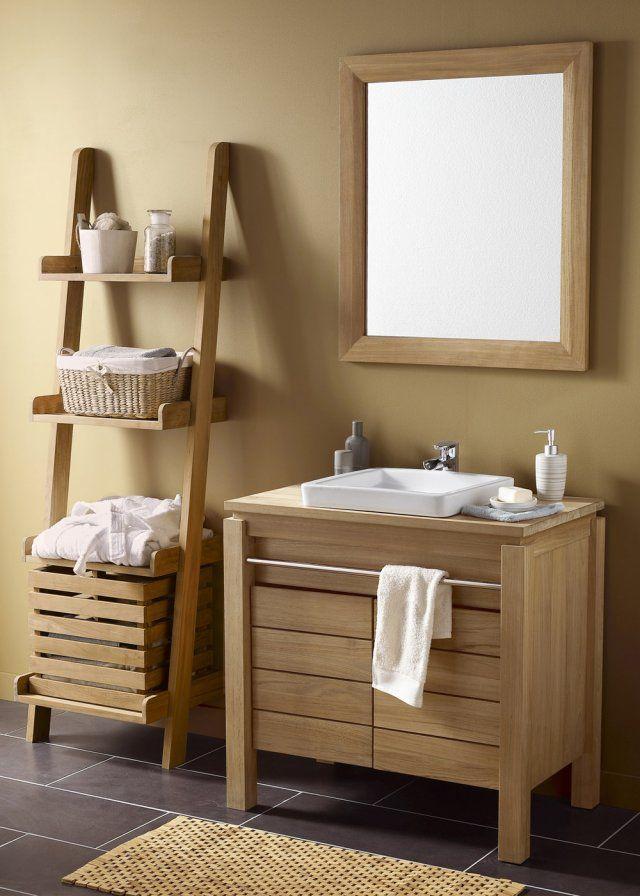 <p>Ce porte-serviette en teck naturel entre parfaitement dans cette tendance qui vise à donner multiples fonctions à un meuble. Le modèle Borneo de Leroy Merlin a un petit plus,...