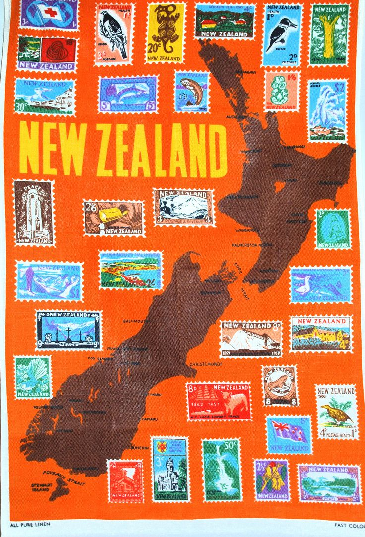 New Zealand Stamps Souvenir Tea Towel - 60s Pure Linen Tourist South North Island Map - Mint! by FunkyKoala on Etsy