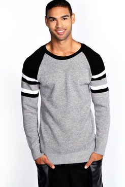 Crew Jumper with Shoulder Stripe at boohoo.com