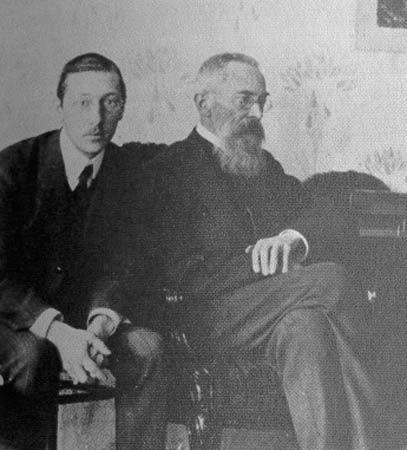 Igor Stravinsky with his teacher Nikolai Rimsky-Korsakov.