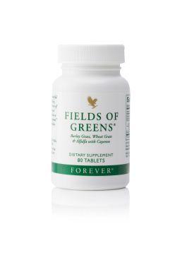 Die ganze Kraft von wogenden grünen Feldern. Fields of Greens vereint grüne Gerste, Weizengras und Alfalfa zu einem Bündel an Energie aus sekundären Pflanzenstoffen. Optimal bei Diäten und Fastenkuren. Ideal auch für Vegetarier, Sportler und alle Junggebliebenen.