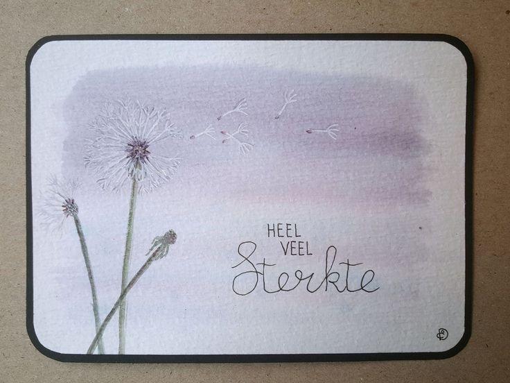 Condoleance kaart sterkte paardebloem dandelion aquarel handlettering