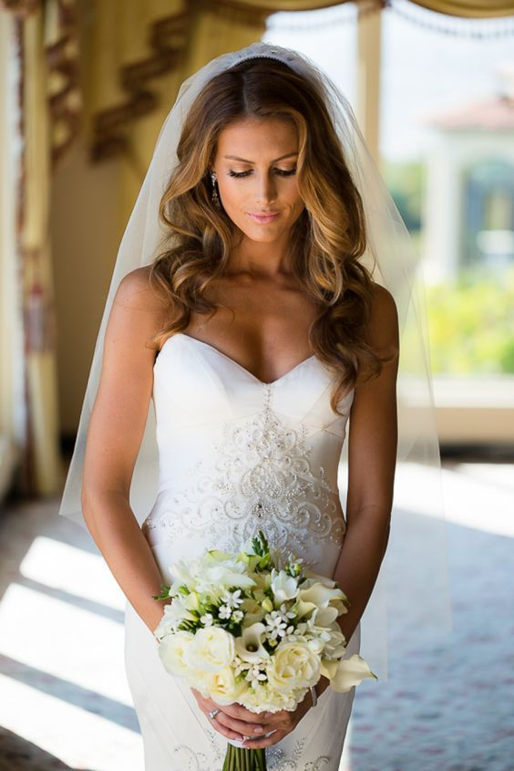 Wedding Gown: Matthew Christopher - http://www.stylemepretty.com/portfolio/matthew-christopher Photography: Lin and Jirsa Photography - http://www.stylemepretty.com/portfolio/lin-and-jirsa-photography Read More on SMP: http://www.stylemepretty.com/california-weddings/2014/12/05/jen-bunneys-elegant-la-wedding/