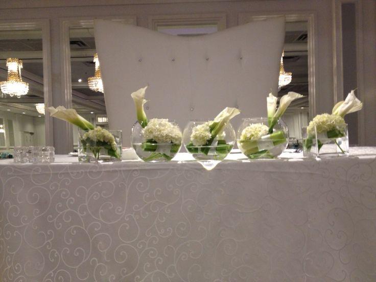 White callas and hydrengea aqua design for head table