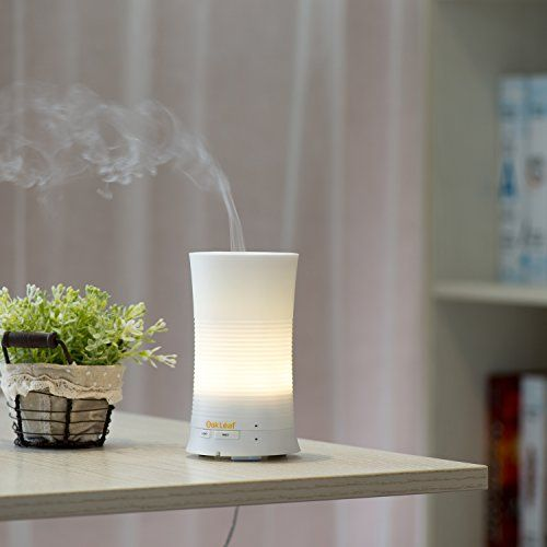 My diffuser:  Ultrasonic Aromatherapy Diffuser, Oak Leaf Mini Cool Aroma Humidifier Delivers Therapeutic Essential Oil Mist Plus a Soothing Rainbow Light in a Compact Multi-mode Automatic Unit for Home, Yoga, Office, Spa Oak Leaf
