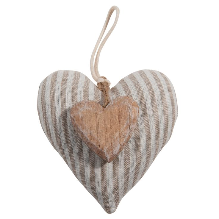 Striped Heart hanging door cushion, beige