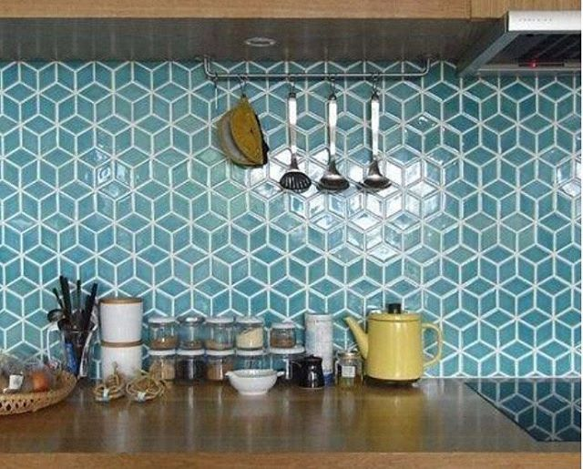 Geometric Tiles, In A White And Maple Kitchen Could These Be A Good  Splashbacku2026