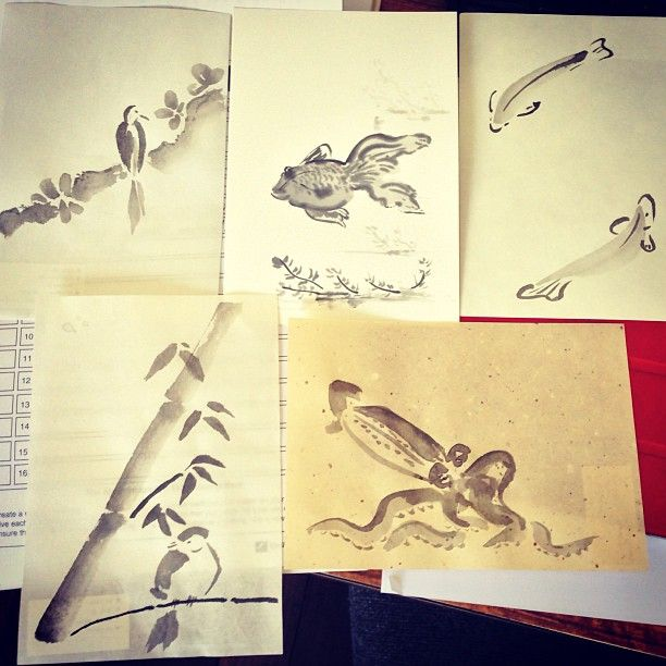 Some of my Sumi-e pictures from the workshop I facilitated.