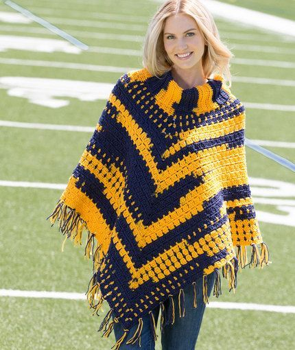 You'll love having this cozy cowl-neck cloak free pattern for sporting events and to point out that team you support where you go. Crocheted in self-stripi
