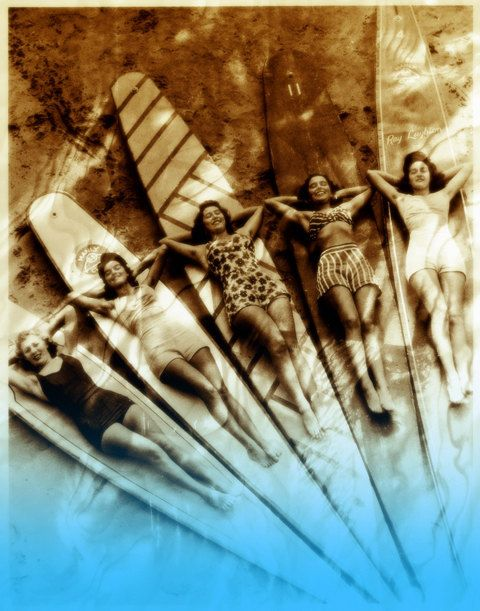 Vintage Sepia Australian Surfer girls Beach Surfboards Surfer Beach House Art Digital Download Photograph Texture Commercial Use