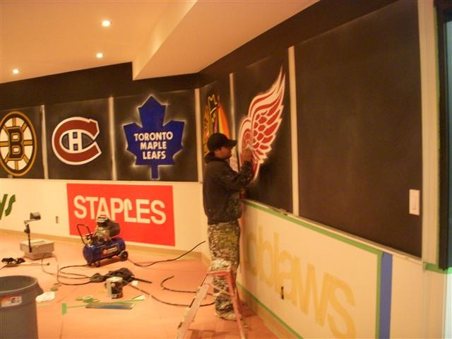 Painted hockey room this needs to happen for chases room for Kids hockey room