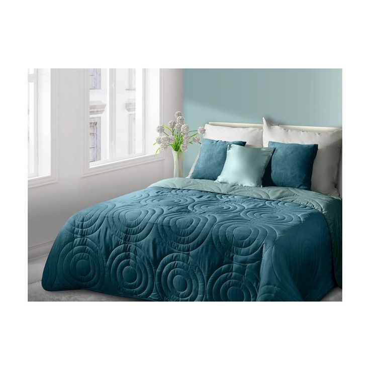 Oboustranné plédy a přehozy na postele v tyrkysové barvě s kruhy