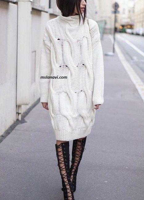 Молодежное вязаное платье   Вяжем с Лана Ви
