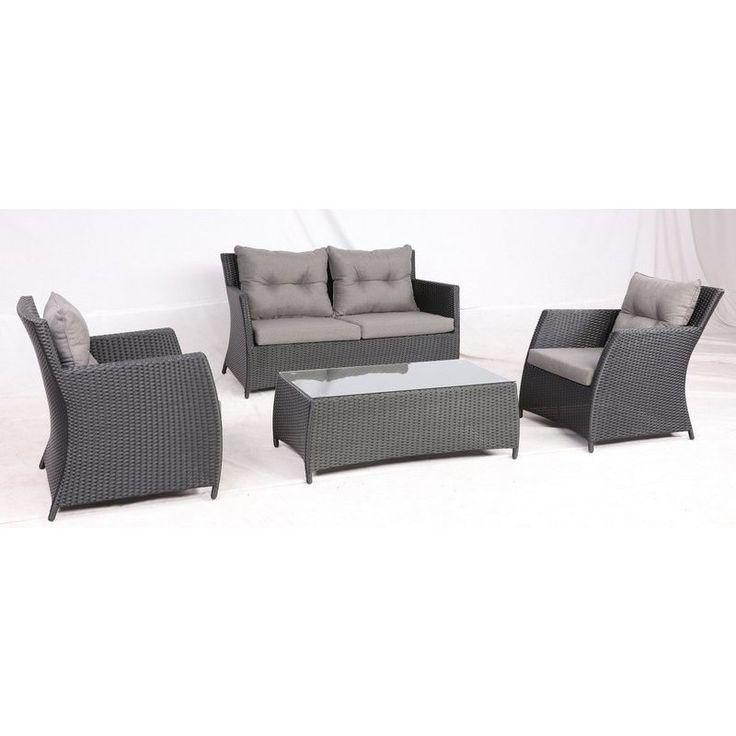 Miami Outdoor 4 Piece Wicker Lounge Set in Black   Buy Wicker Outdoor Furniture