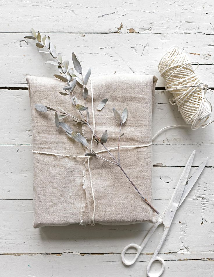 Linen gift wrap.