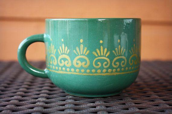 Green Teacup or Coffee Mug with Gold Moroccan Henna Design